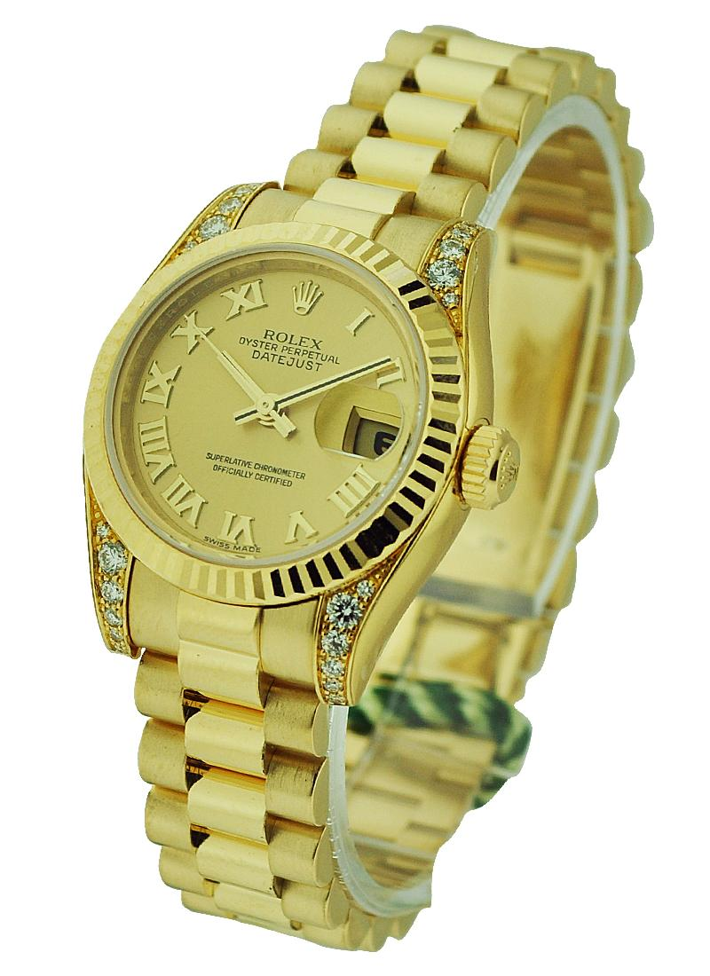 Rolex Unworn President 26mm in Yellow Gold with Fluted Bezel - Diamond Lugs