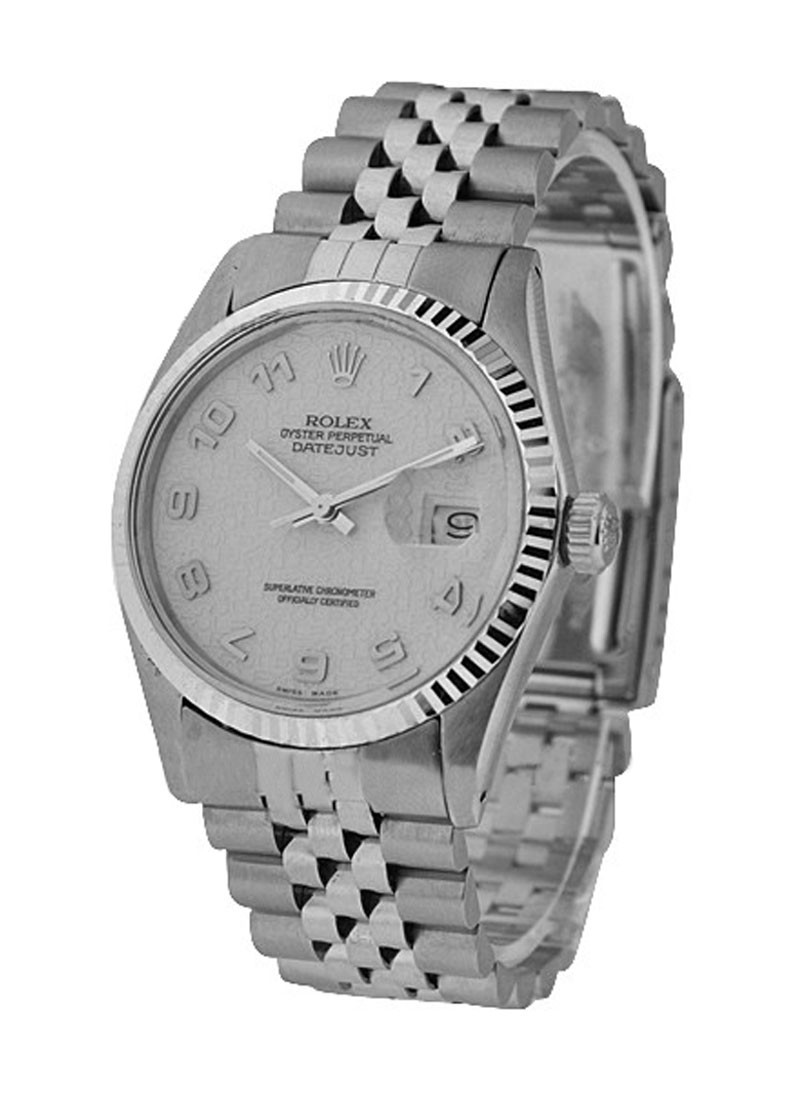 Rolex Used Datejust Men's 36mm with White Gold Fluted Bezel