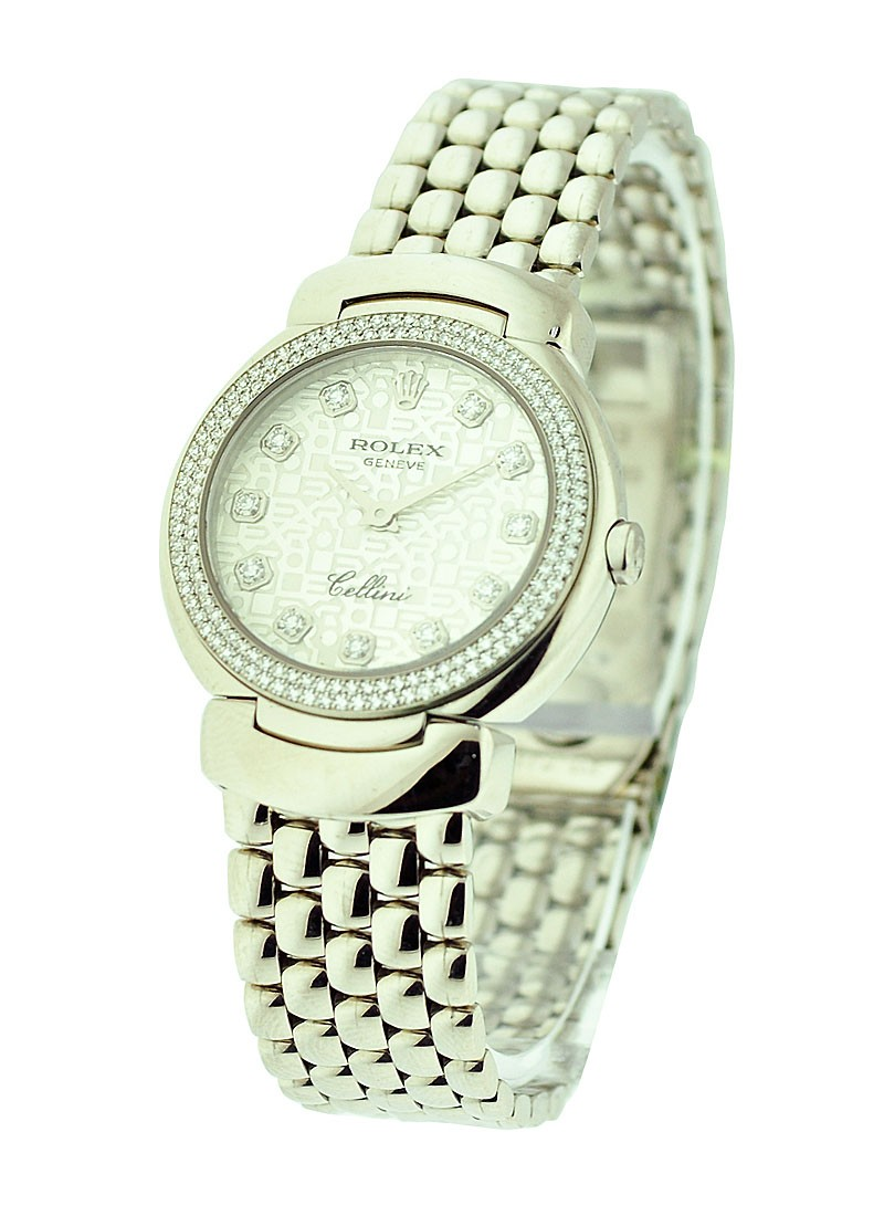 Rolex Unworn Cellini Cellisima in White Gold with 2 Row Diamond Bezel