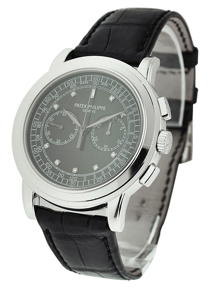 Patek Philippe 5070G Chronograph in White Gold wiith Black Diamond Dial