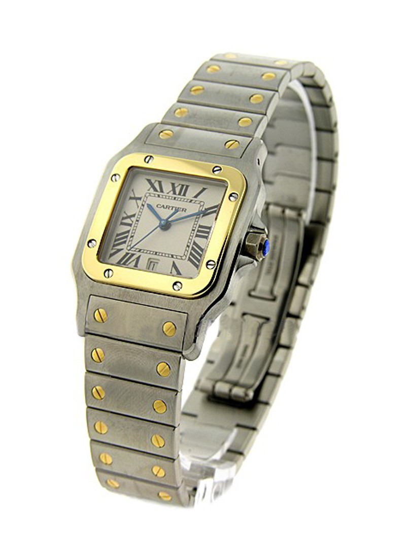Cartier Santos Galbee in Steel with Yellow Gold Bezel