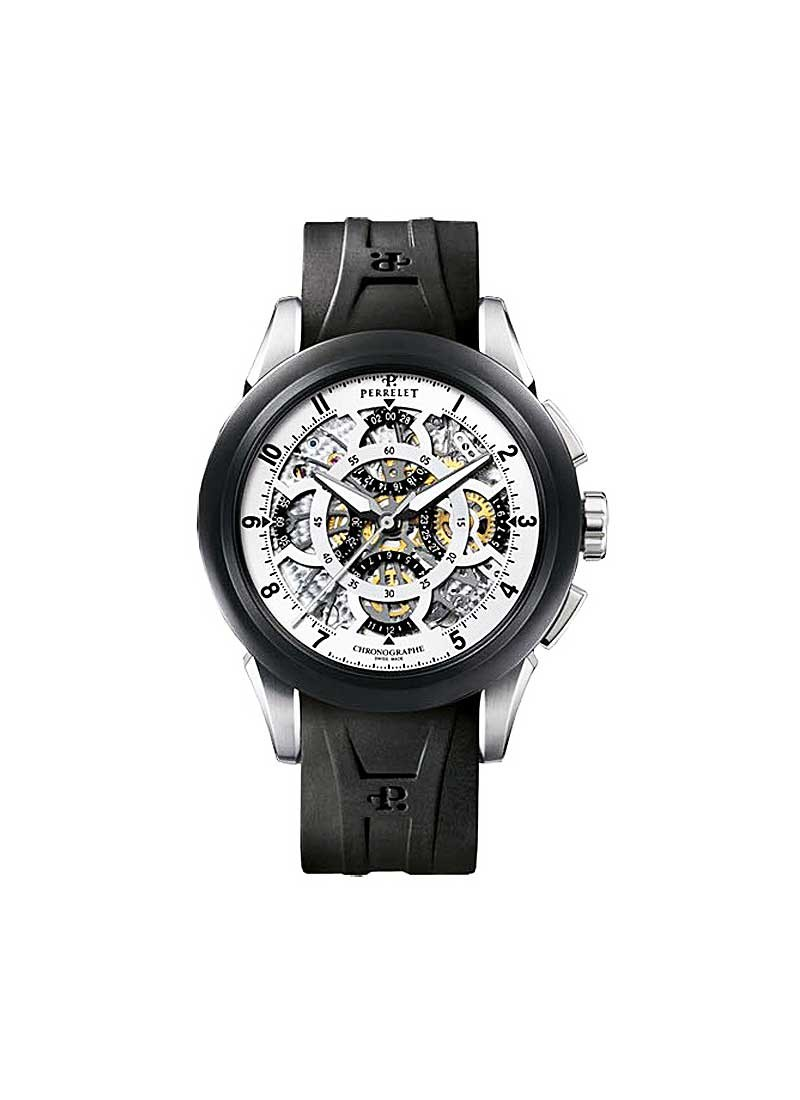 Perrelet GMT Men's Chrono Skeleton in Steel and Black DLC