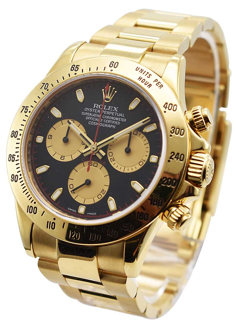 116528 Used Black Champsub Rolex Daytona Yellow Gold On Bracelet