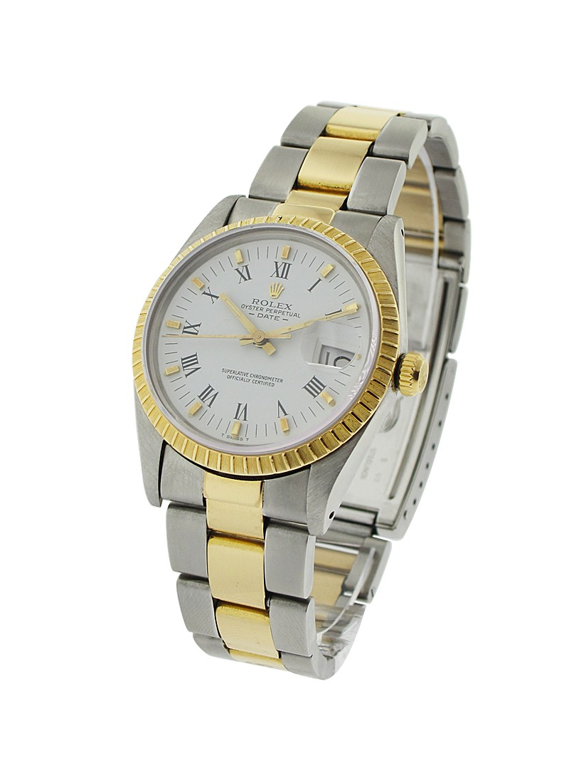 Rolex Used Date in Steel with Yellow Gold with Fluted Bezel