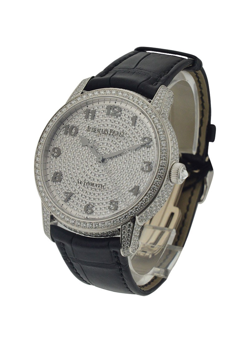 Audemars Piguet Jules Audemars in White Gold with Full Pave Diamond Case