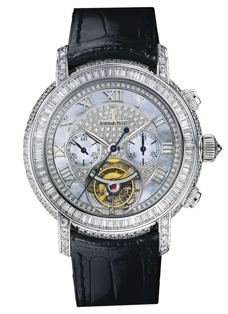 Audemars Piguet Jules Audemars Tourbillon Chronograph in White Gold with Diamond Bezel