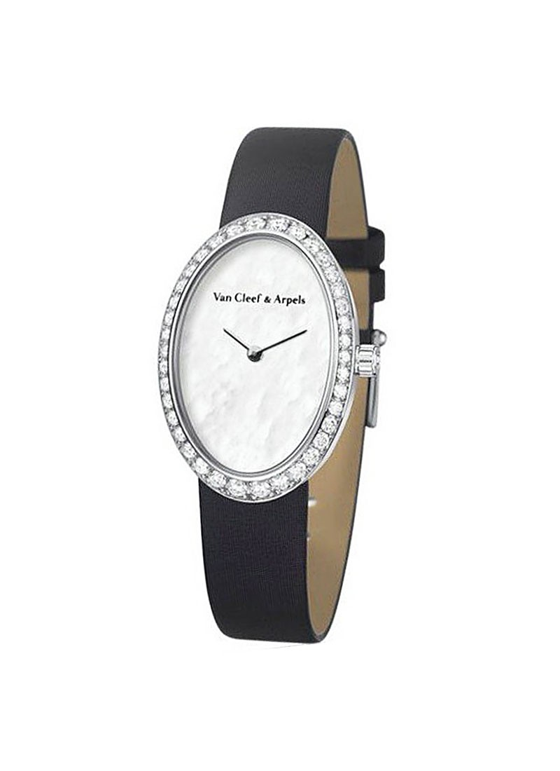 Van Cleef Timeless Watch Women''s Oval in White Gold - Diamonds