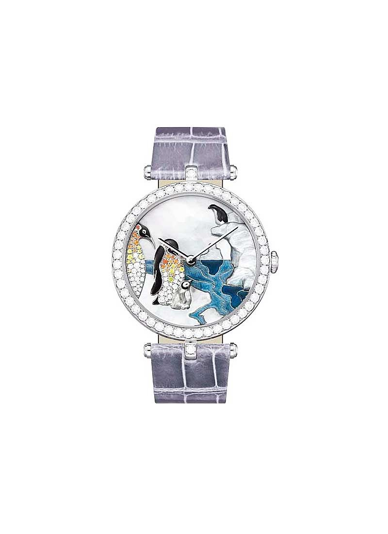 Van Cleef Polar Lanscape Extraordinary Penguin in White Gold with Diamond Bezel