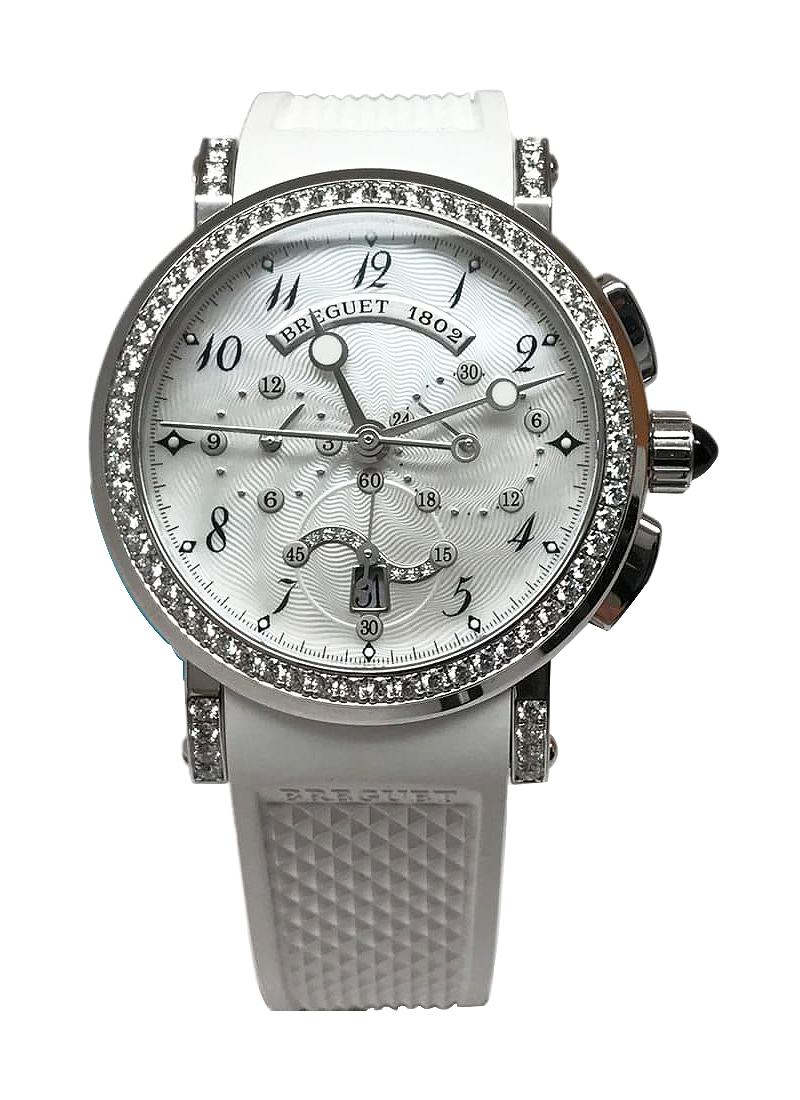 Breguet Marine Chronograph Ladies in White Gold with Diamonds bezel