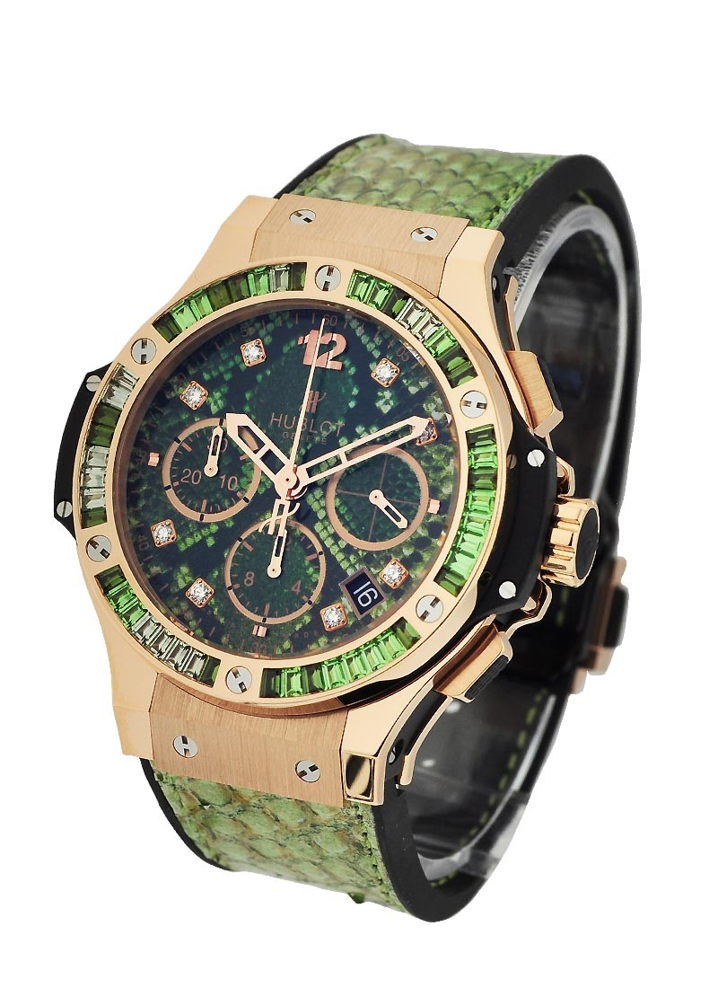 Hublot Boa Bang Collection Green Tsavorite in Rose Gold with Baguette Diamond Bezel