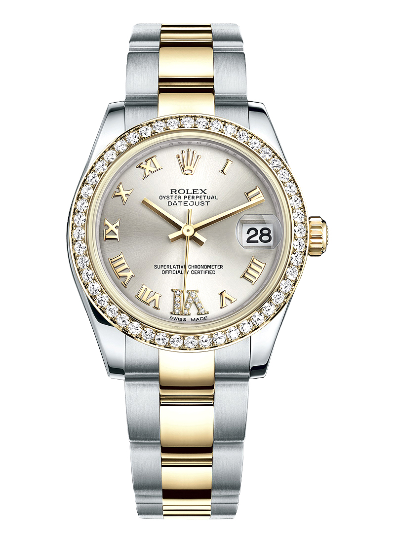 Rolex Unworn Datejust 31mm Mid Size in Steel with Yellow Gold Diamond Bezel