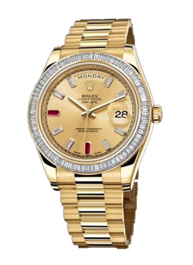 Rolex Unworn Day-Date II in Yellow Gold with Baguette Diamond Bezel