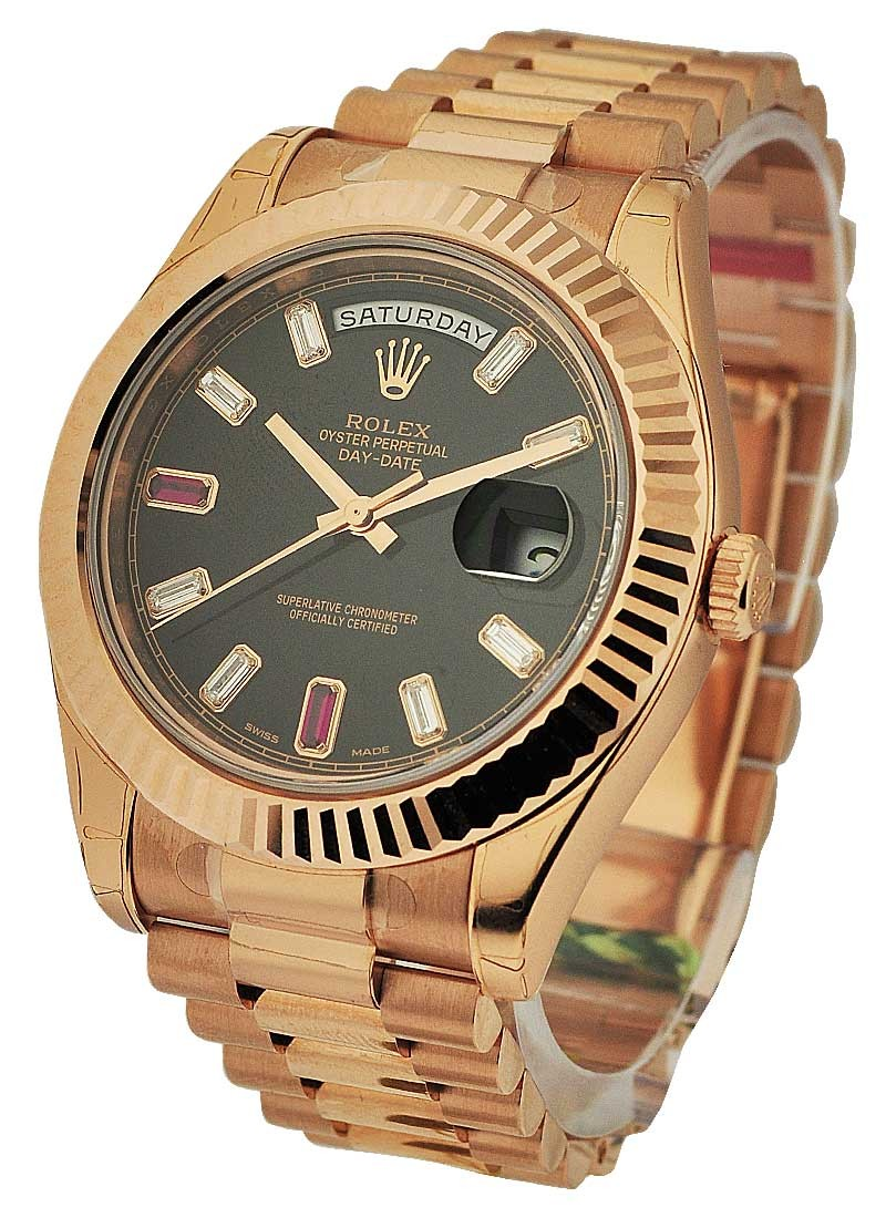 Rolex Unworn Day Date II President in Rose Gold with Fluted Bezel