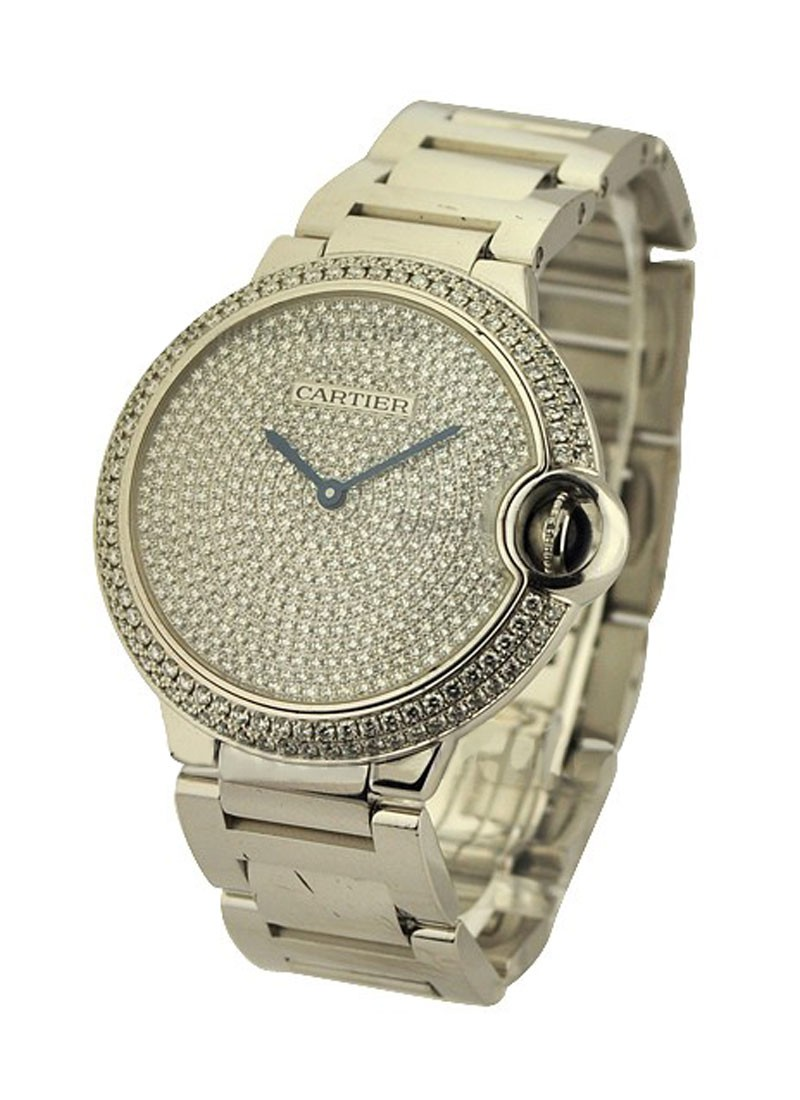 Cartier Ballon Bleu 36mm with Factory Pave Diamond Dial