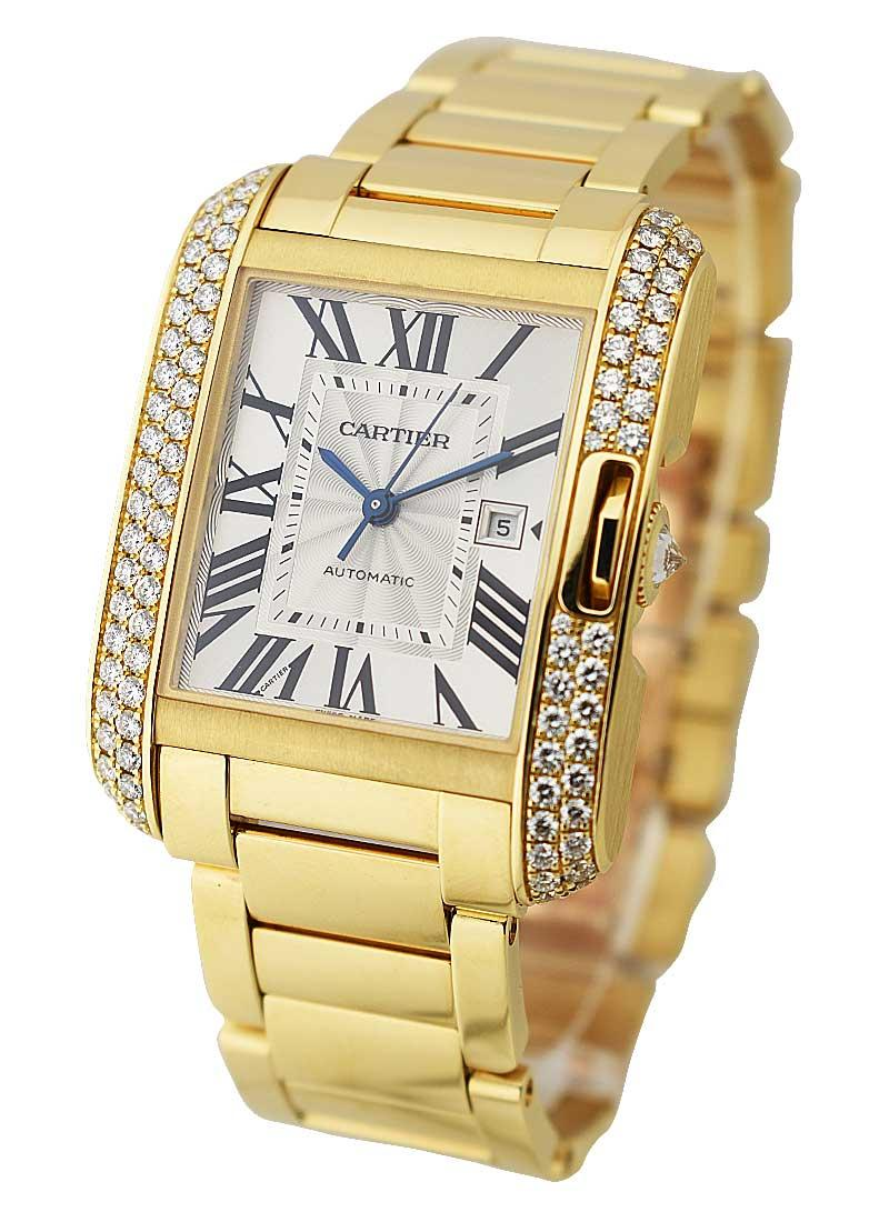 Cartier Tank Anglaise Medium in Yellow Gold with Diamond Bezel