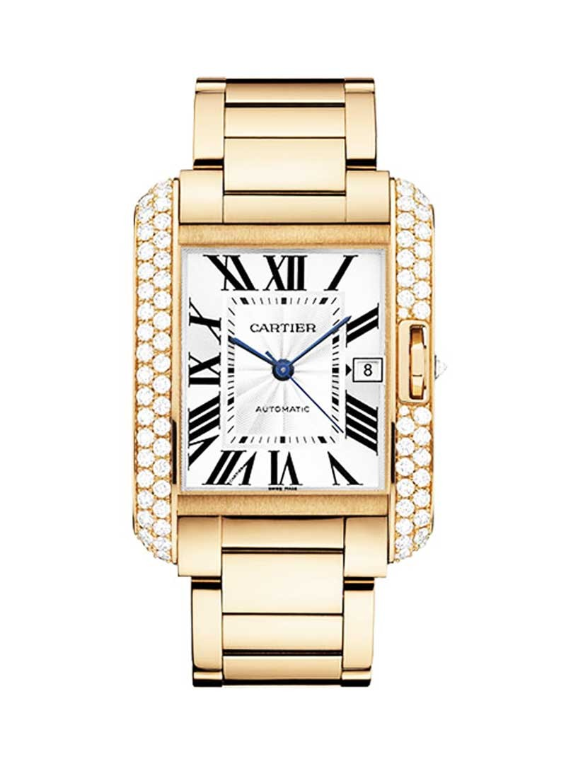 Cartier Tank Anglaise 47mm Automatic in Rose Gold with Diamond Bezel