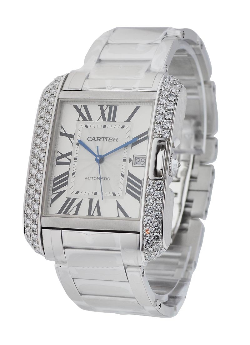 Cartier Tank Anglaise Large with Diamond Bezel