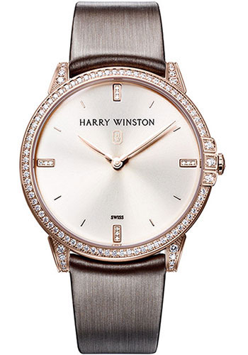 Harry Winston Midnight 39mm Quartz in Rose Gold with Diamond Bezel & Lugs