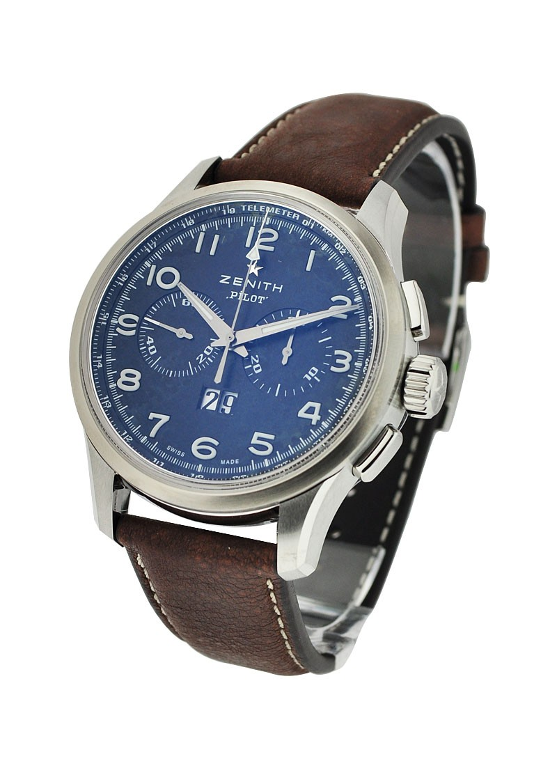 Zenith Pilot Big Date Chronograph in Brushed Steel