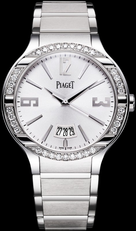Piaget Polo Large Size  in White Gold with Diamond Bezel