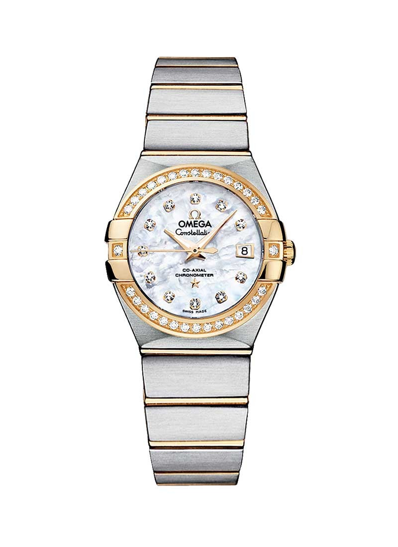 Omega Constellation Brushed Chronometer in 2 Tone with Diamond Bezel