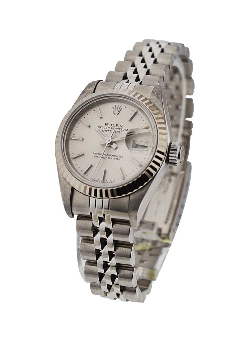 Lady's Datejust in Steel with White Gold Fluted Bezel