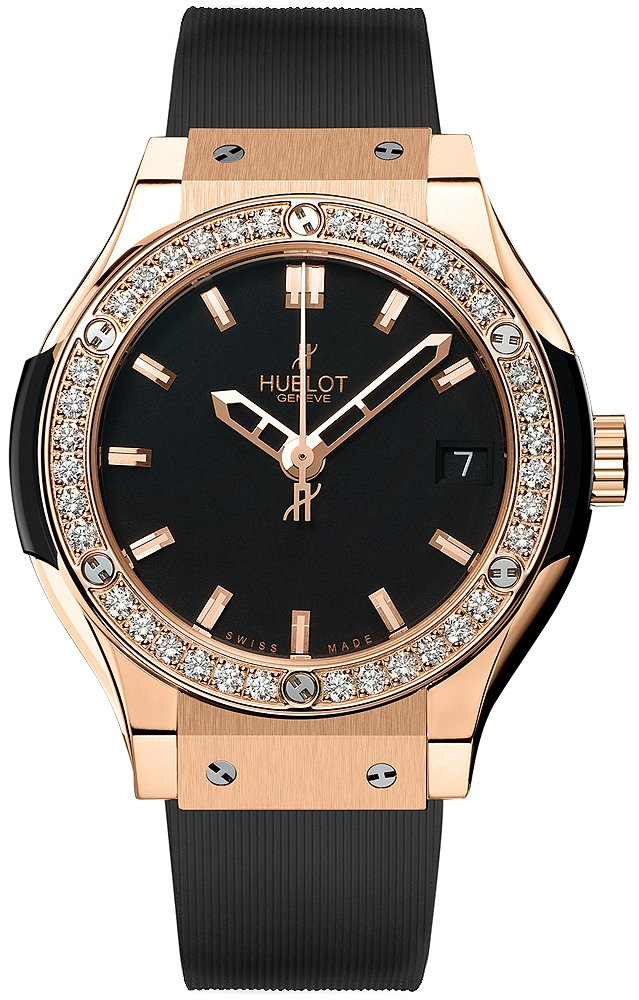 Hublot Classic Fusion 33mm in Rose Gold with Diamond Bezel