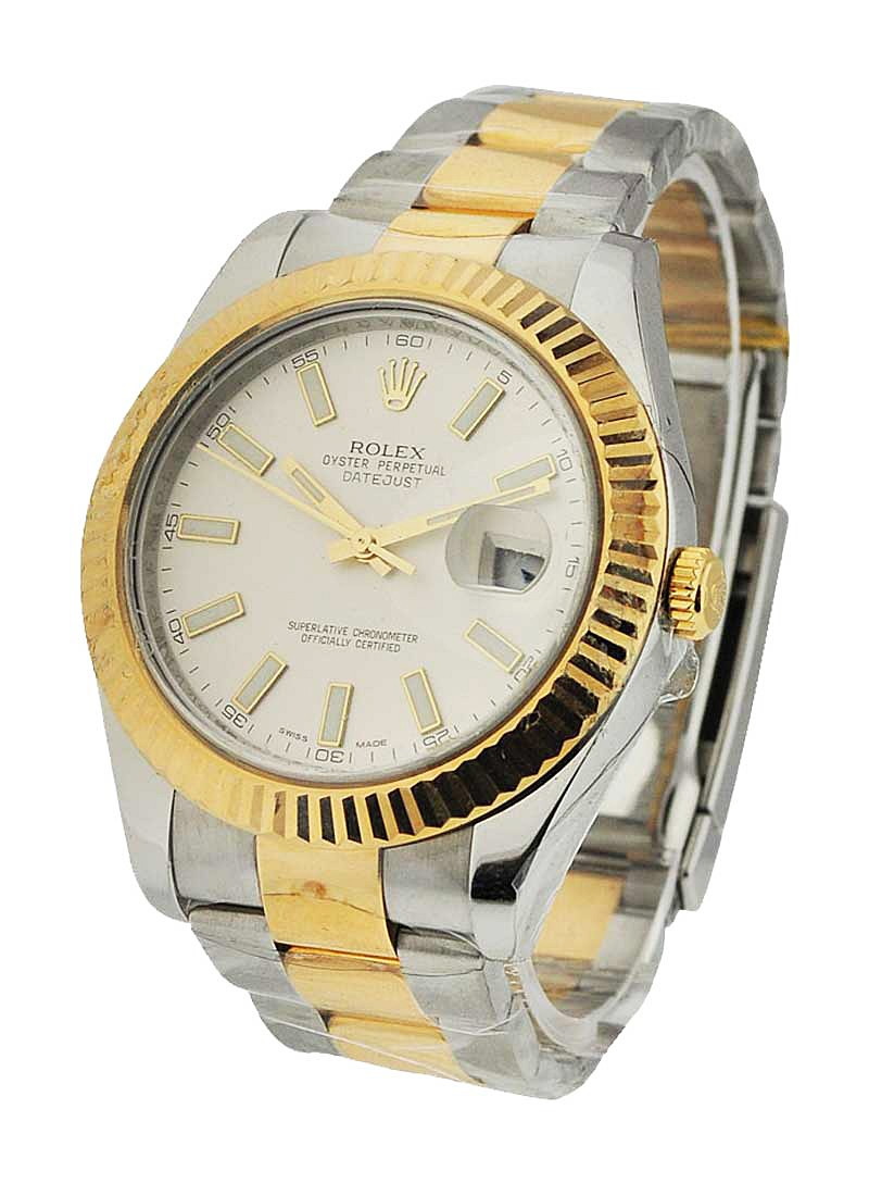 Rolex Used Datejust II in Steel with Yelllow Gold Fluted Bezel