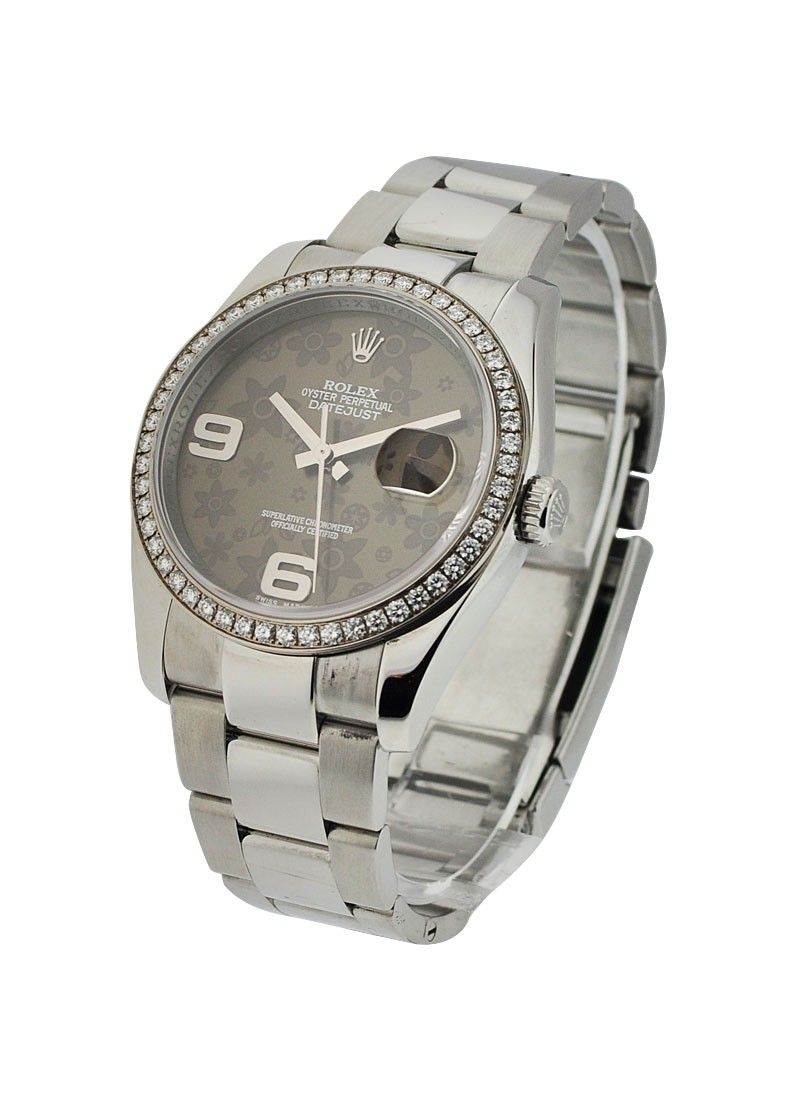 Rolex Used Datejust 36mm with Dark Grey Floral Dial