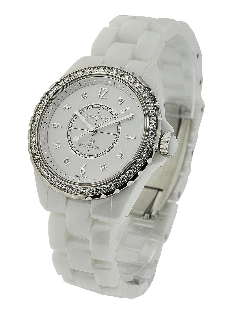 Chanel J12 38mm Automatic in White Ceramic with Diamond Bezel
