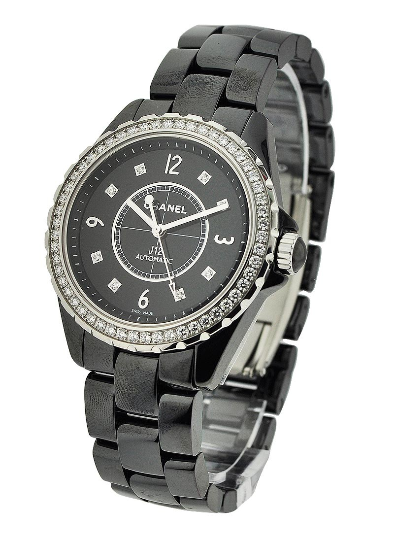 Chanel J12 38mm H3109 in Black Ceramic with Diamond Bezel