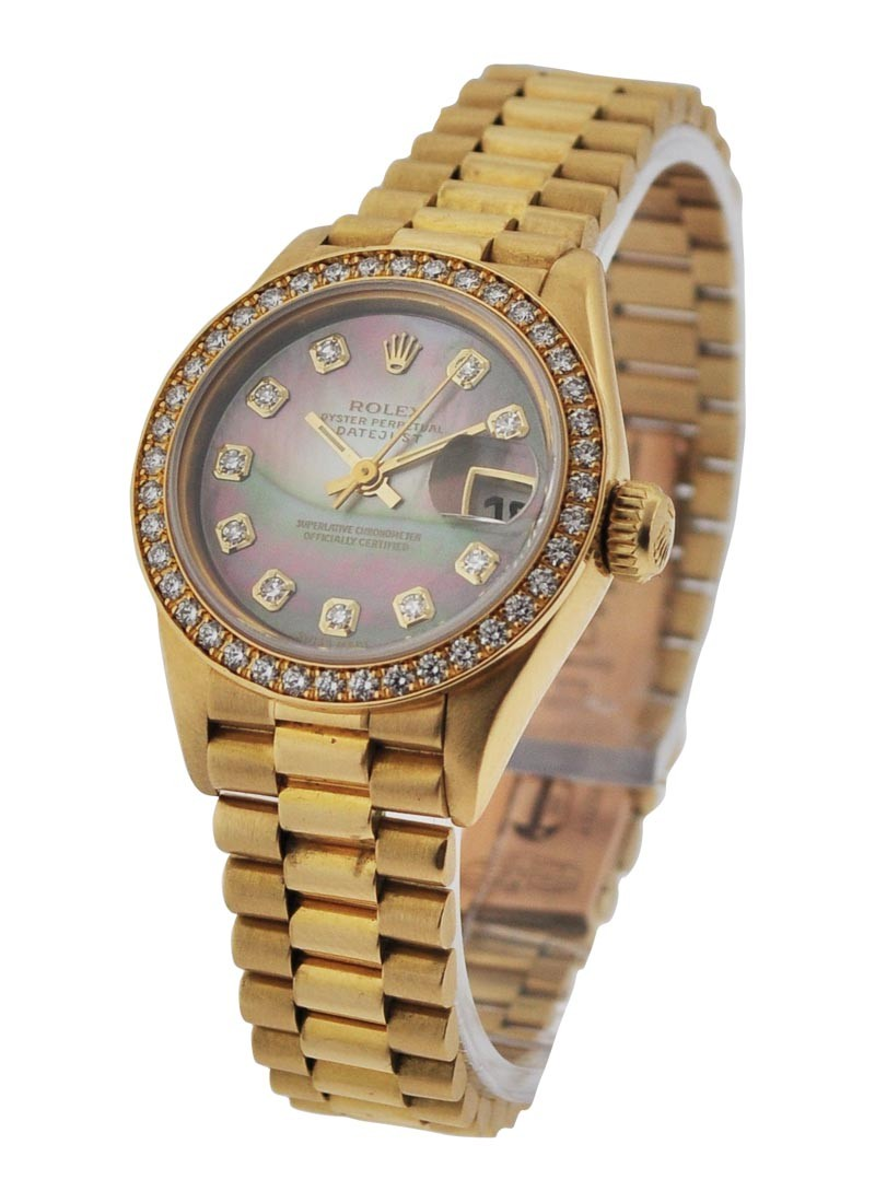 Rolex Used Lady''''''''s President with Factory Diamond Bezel