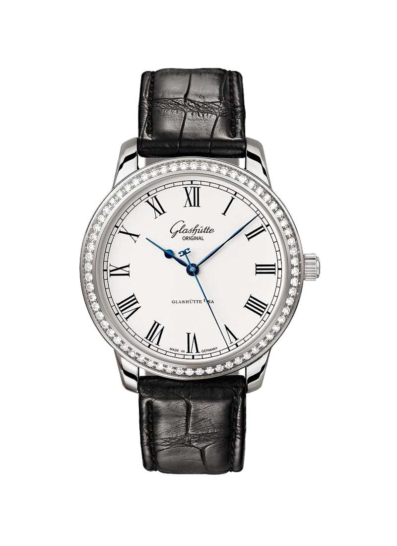 Glashutte Senator Quintessentials 40mm Automatic in Steel with Diamonds Bezel