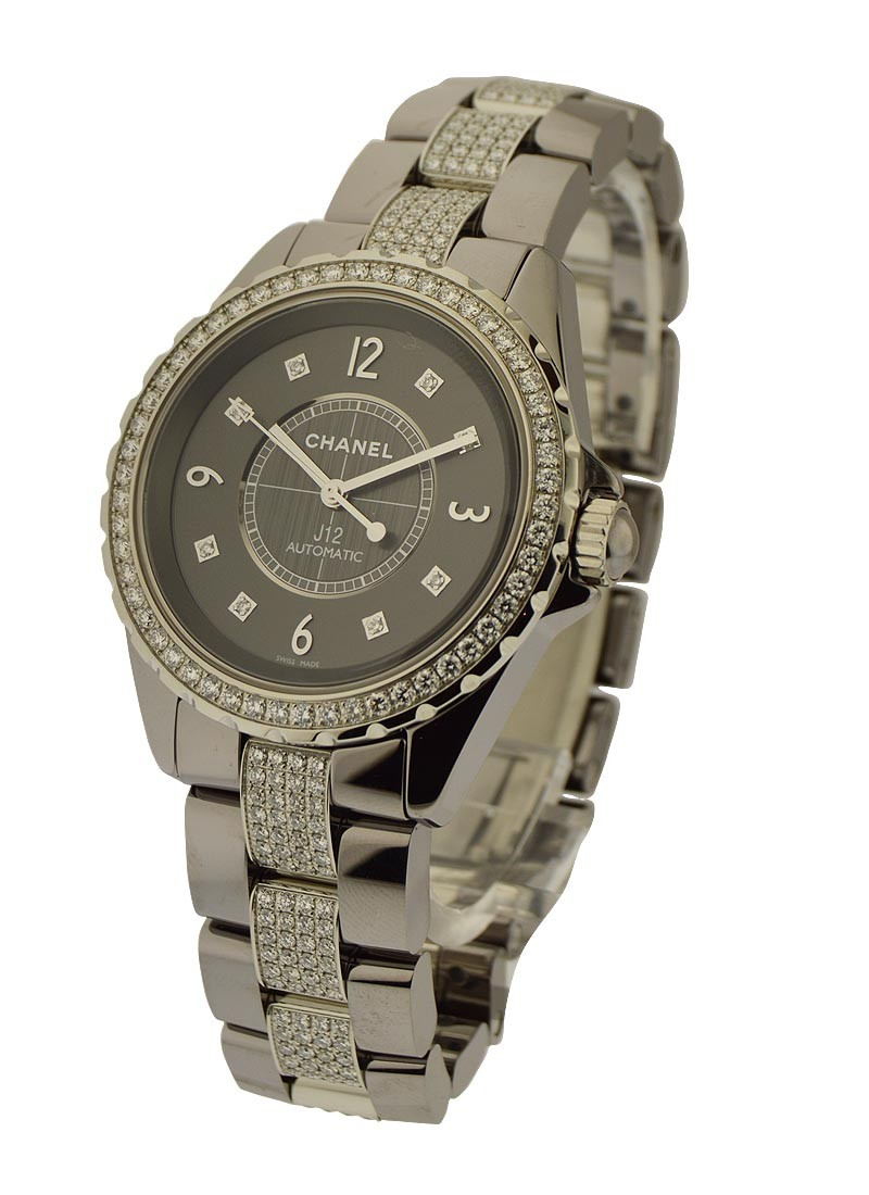 Chanel J12 Chromatic 38mm Automatic in Titanium Ceramic with Diamonds Bezel