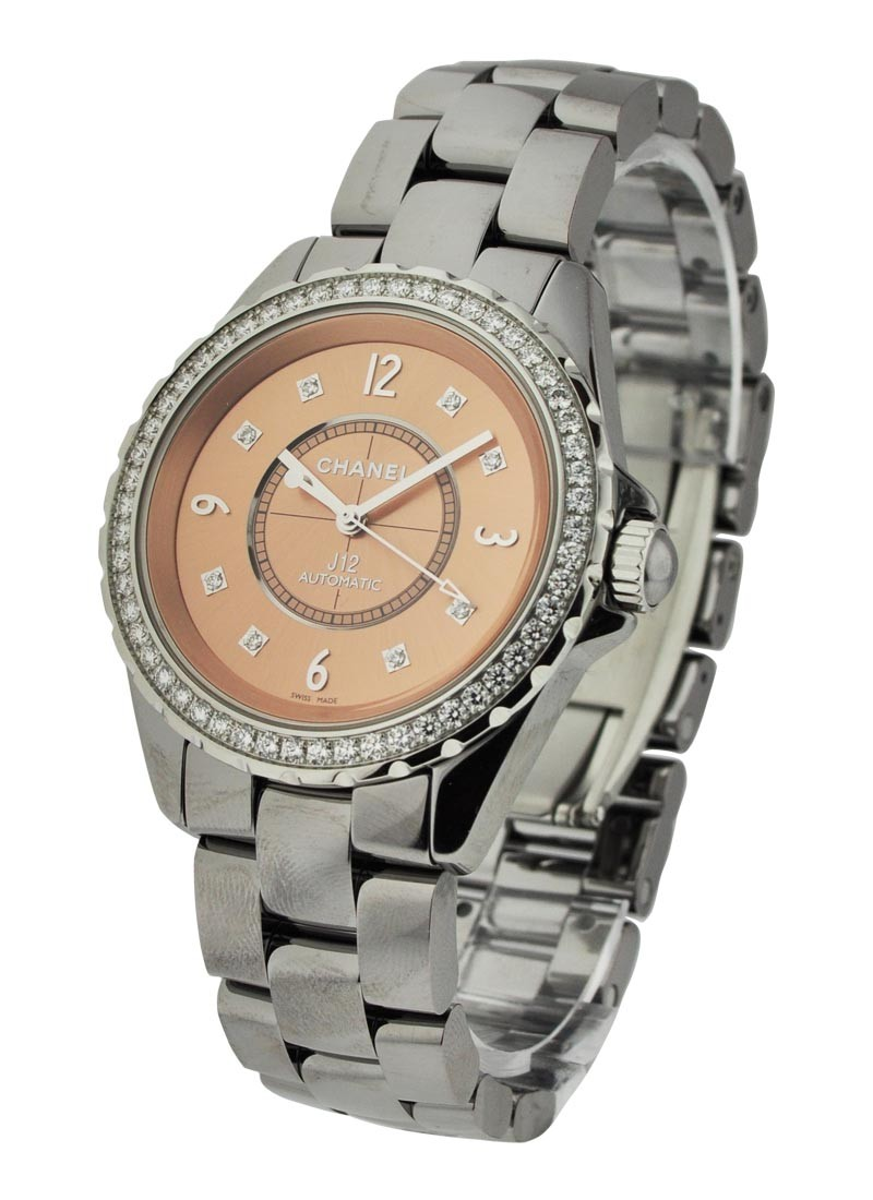Chanel J12 Chromatic 38mm Quartz in Titanium with Single Row Diamonds Bezel