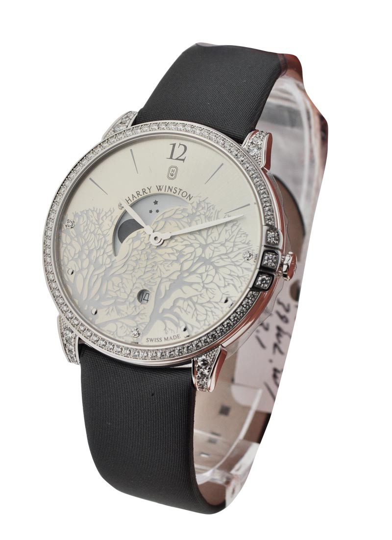 Harry Winston Midnight Moon Phase in White Gold with Diamond Bezel