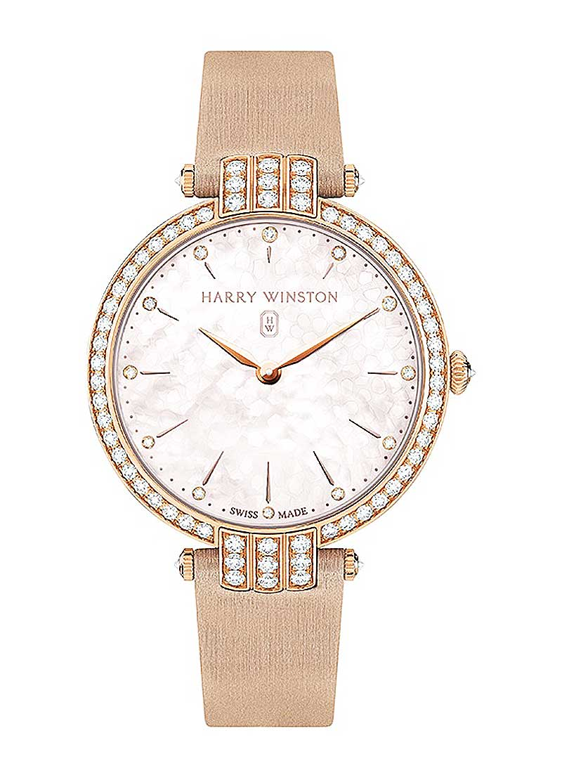 Harry Winston Premier 36mm Quartz in Rose Gold with Diamond Bezel