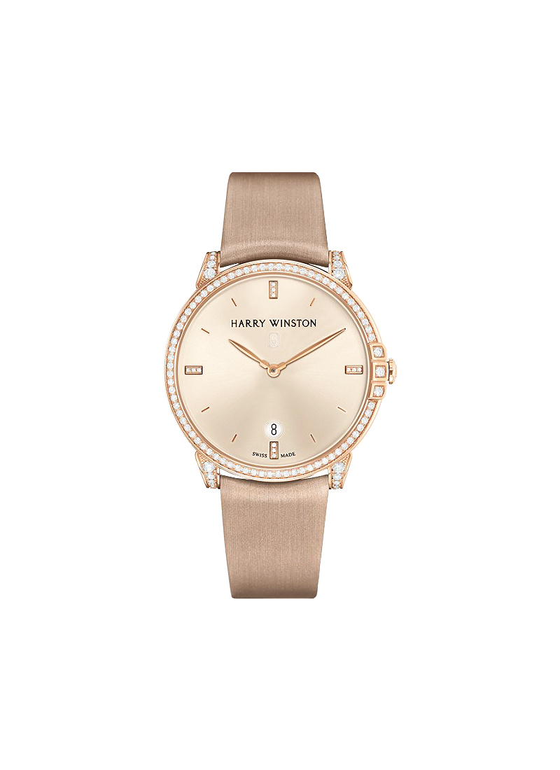 Harry Winston Midnight Automatic 39mm in Rose Gold with Diamond Bezel