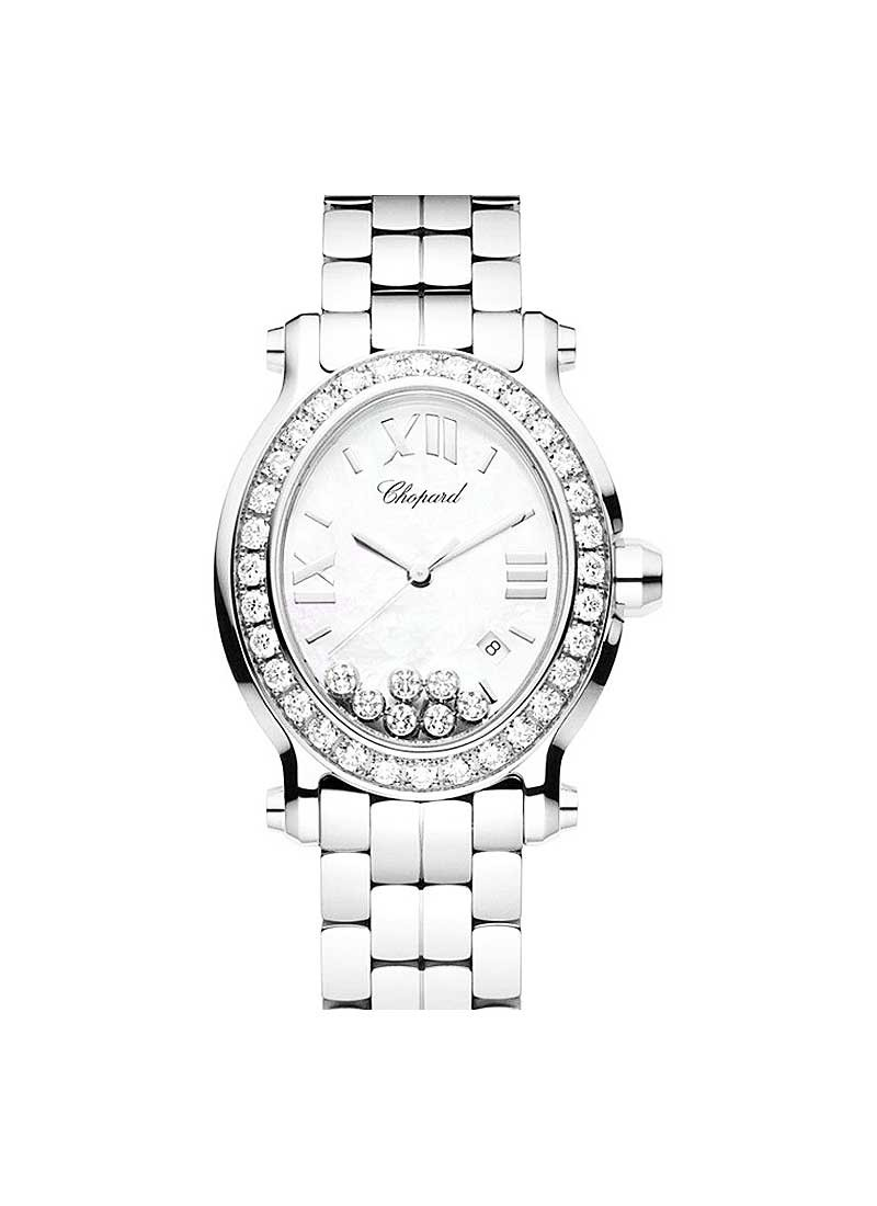 Chopard Happy Sport Oval in Steel with Diamond Bezel