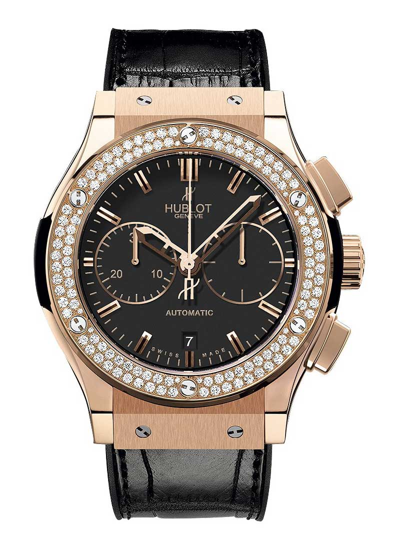 Hublot Classic Fusion 45mm Chronograph in Rose Gold with Diamond Bezel