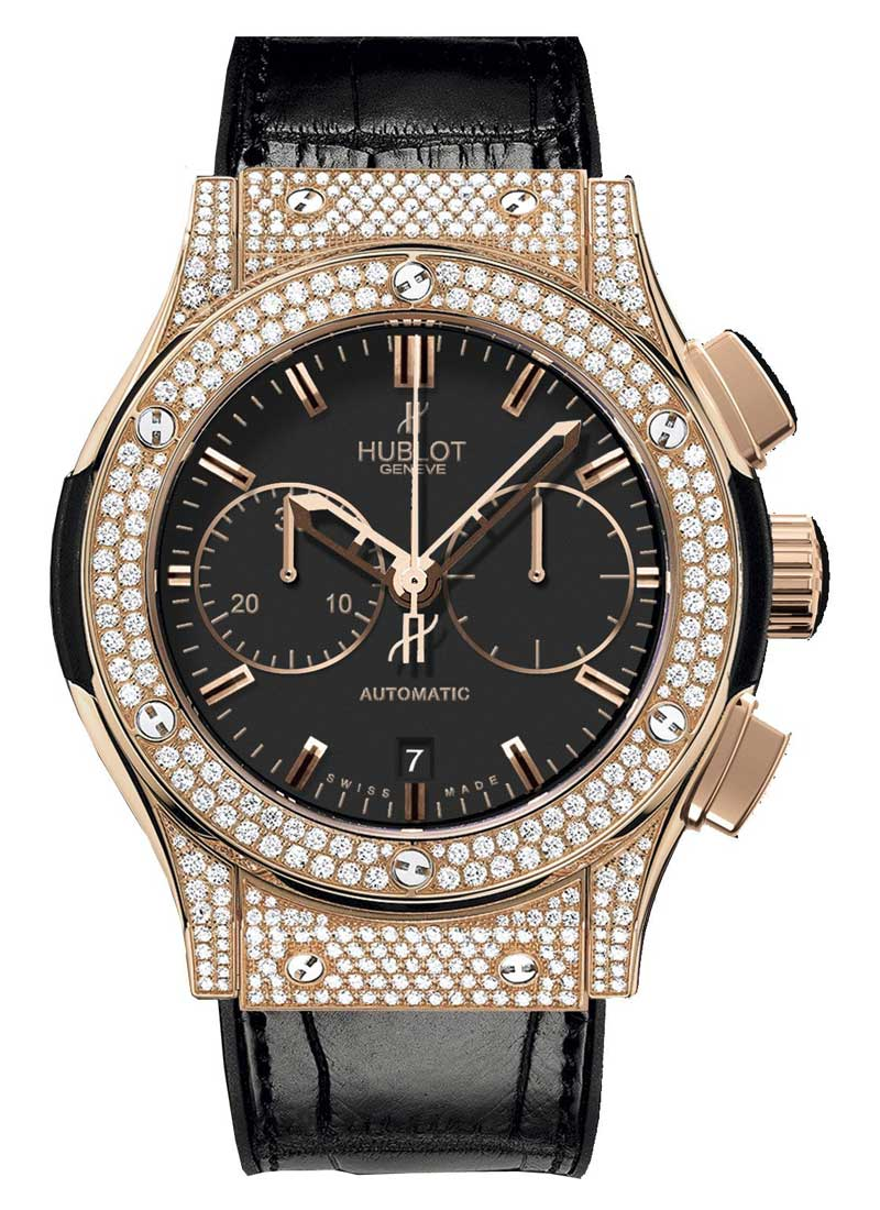 Hublot Classic Fusion 45mm in Rose Gold with Pave Diamond Bezel