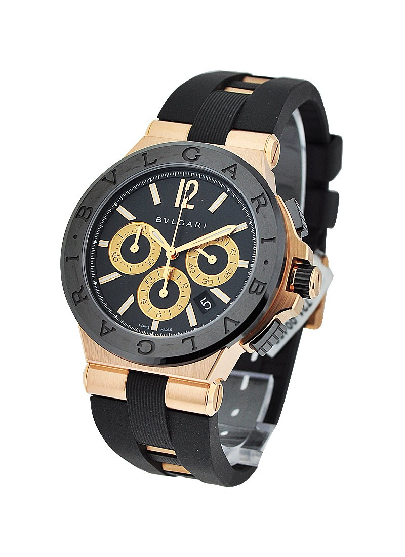 Bvlgari Diagono 42mm Chronograph in Rose Gold with Ceramic Bezel