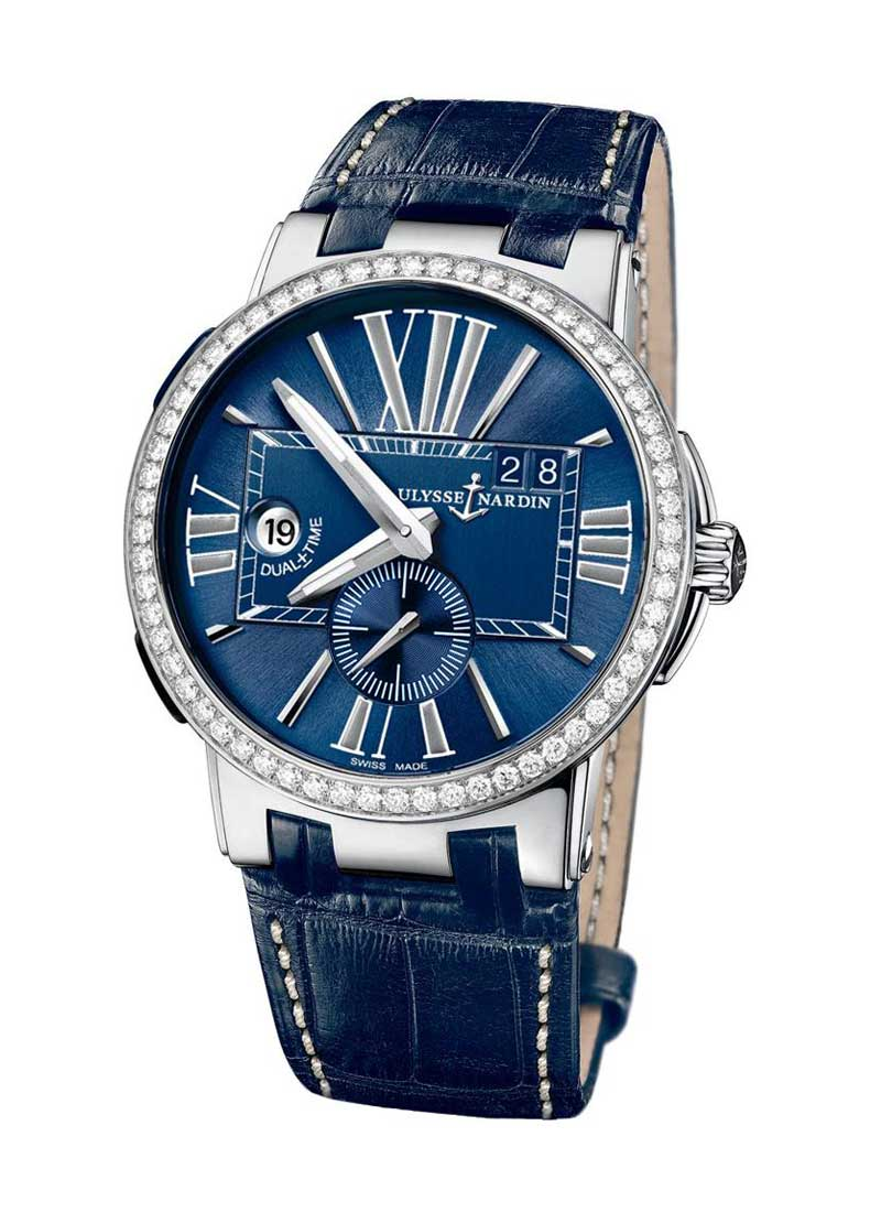 Ulysse Nardin Dual Time Executive 43mm in Steel with Diamond Bezel
