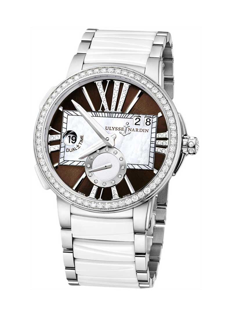 Ulysse Nardin Executive Dual Time in Steel with White Ceramic Diamond Bezel