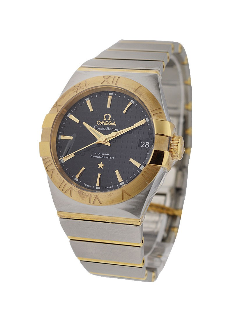 Omega Constellation Mens in Steel with Yellow Gold Bezel