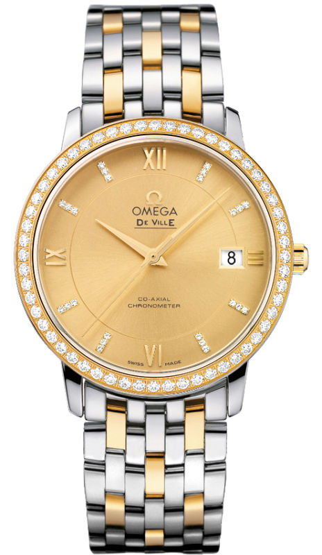 Omega De Ville Prestige Co-Axial in Yellow Gold with Diamond Bezel