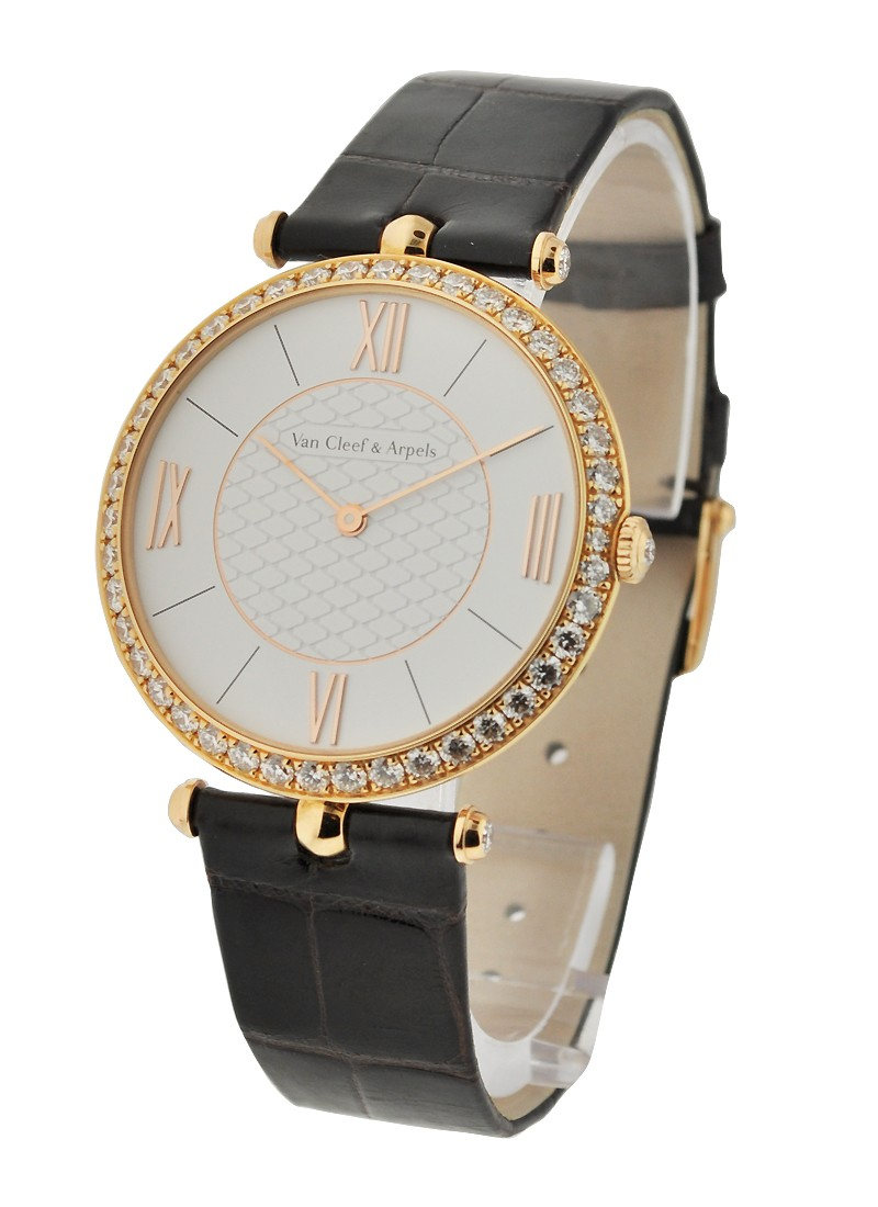 Van Cleef Pierre Arpels Manual in Rose Gold with Diamonds Bezel
