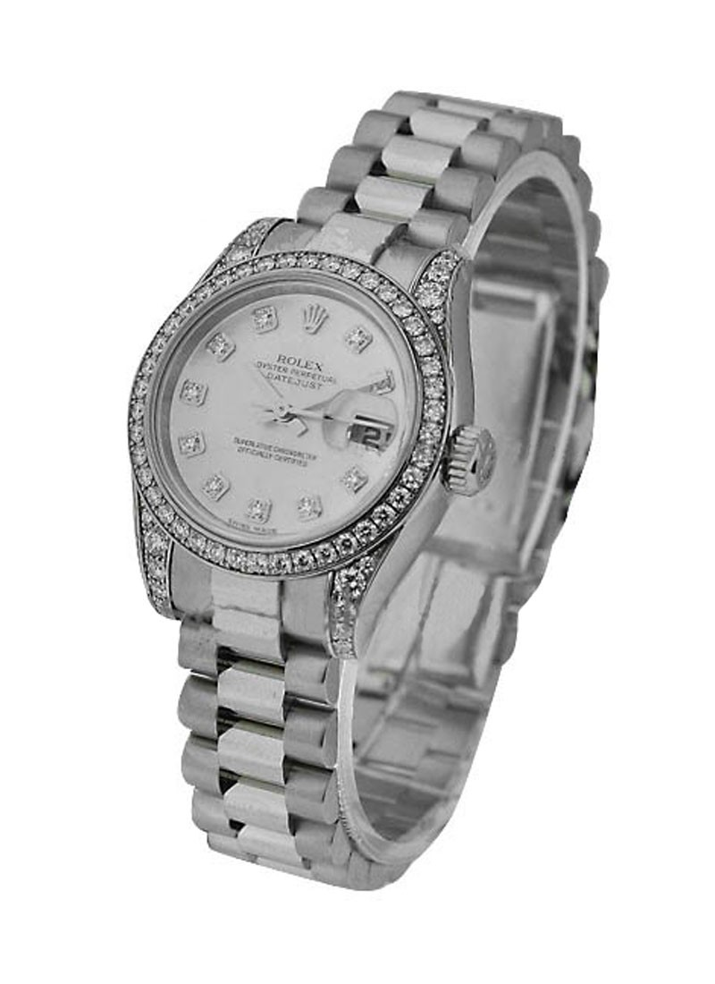 Rolex Used White Gold 26mm President with 32 Diamond Bezel