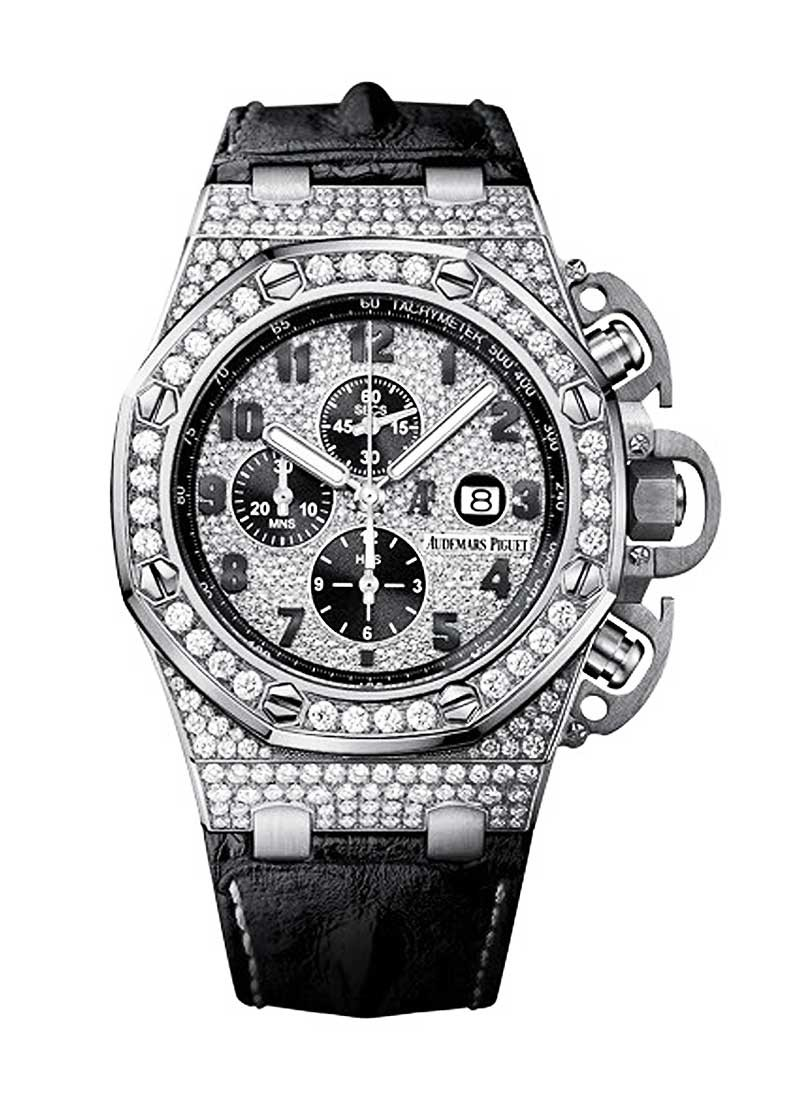 Audemars Piguet Royal Oak Offshore Chronograph in White Gold with Diamond Bezel