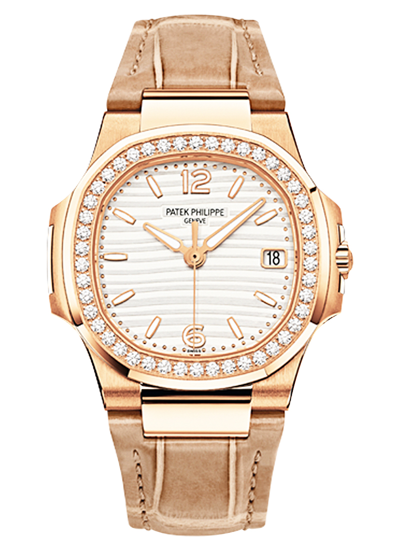 Patek Philippe Nautilus Ladies 32mm Quartz in Rose Gold with Diamond Bezel